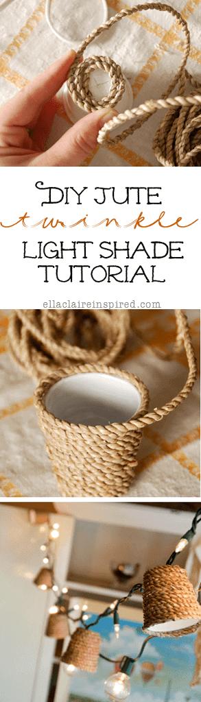Jute twinkle light shade tutorial
