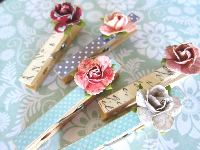 Paper Rose Clothespins 1