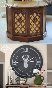 How to Upcycle a Table into a Clock - How I created a large chalkboard wall clock out of a thrift store table. UpcycledTreasures.com