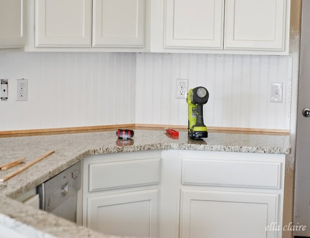 $30 Beadboard Kitchen Backsplash Tutorial - Ella Claire