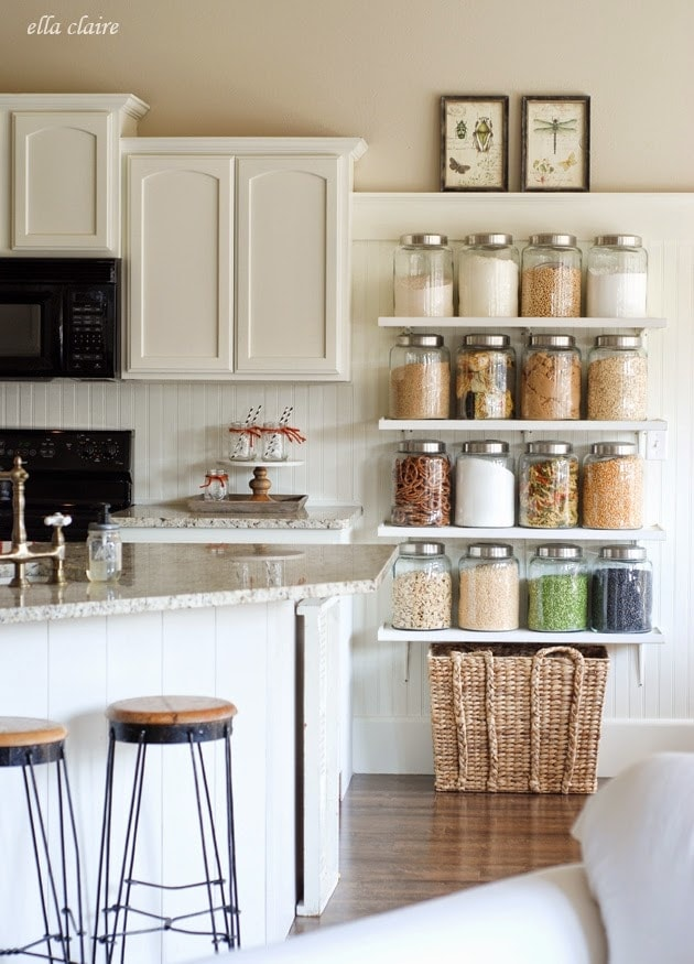 Diy country store kitchen shelves more pantry space for Country kitchen pantry ideas